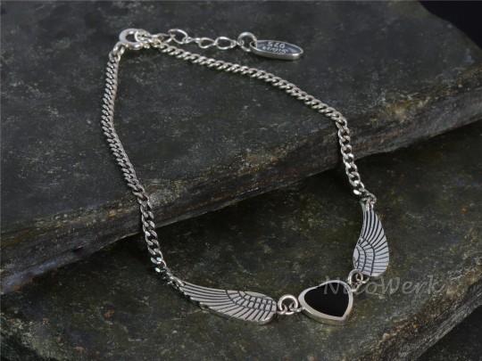 Silberarmband Engelsflügel