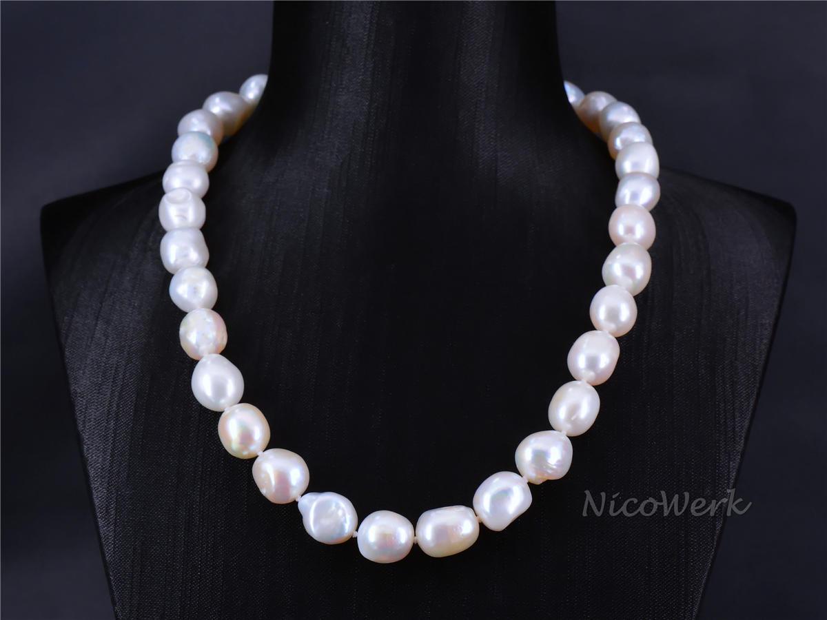 Perlenkette Barockperle 10 11mm Collier Weiß Echte Perlen Zuchtperlen Kurz