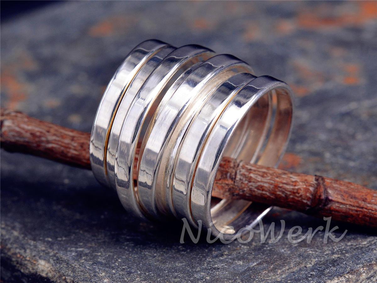 Silberring Wickelring Glatt Breit Elastisch Draht Ring Silber 925 Verstellbar