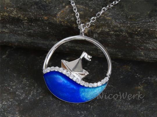 Silberkette Segelboot
