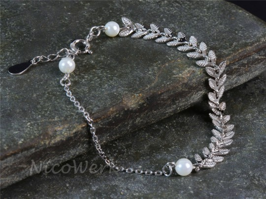 Silberarmband Olivenblätter