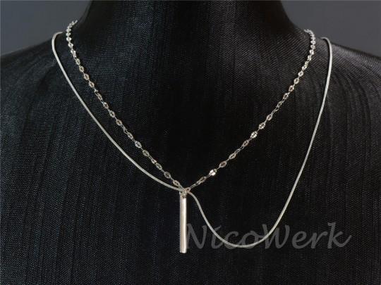 Silberkette Stäbchen