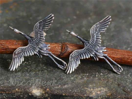 Silber Ohrstecker Storch