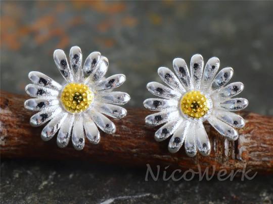 Silber Ohrstecker Gänseblümchen