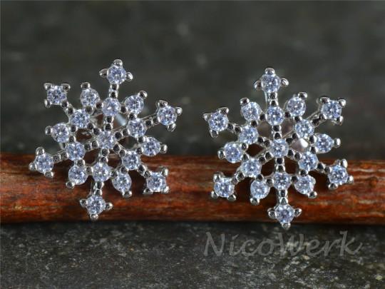 Silber Ohrstecker Schneeflocke