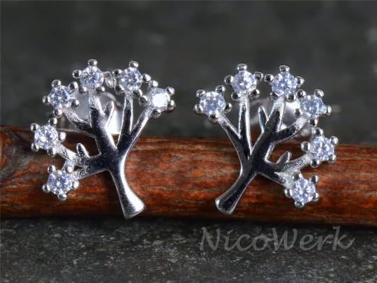 Silber Ohrstecker Baum